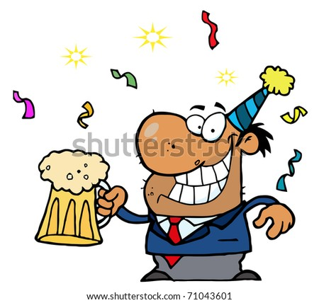 Happy African American Businessman Celebrating At A Party With Beer