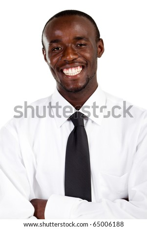 Happy african american businessman on white