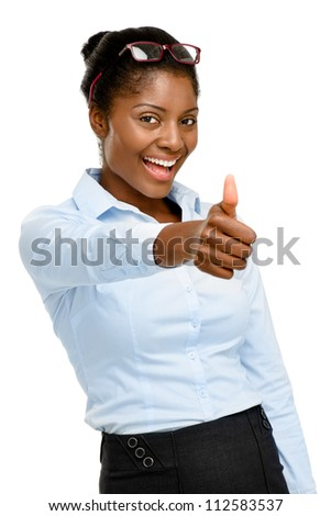 Happy African American businesswoman thumbs up isolated on white background