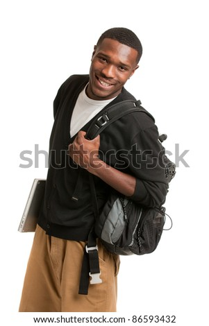 Happy African American College Student Holding Laptop on Isolated White Background