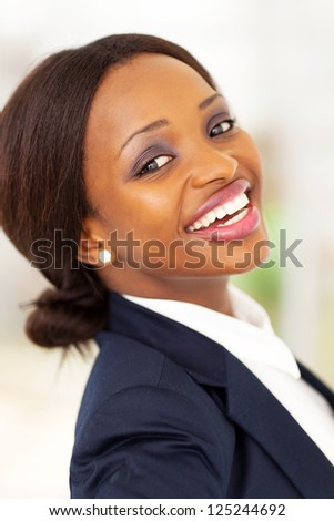 happy african american corporate worker closeup