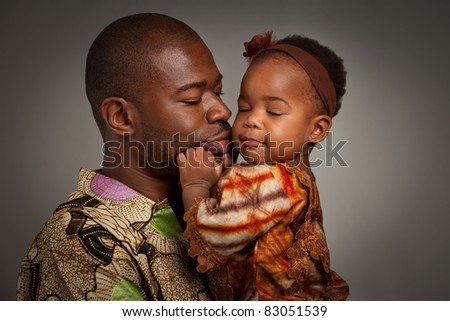 Happy African American Father Holding Baby Girl Portrait Isolated on Grey Background