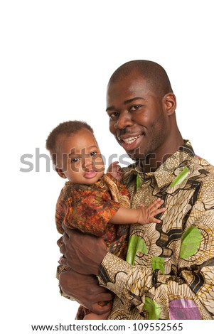 Happy African American Father Holding Baby Wearing Colorful Costume Portrait Isolated on White Background