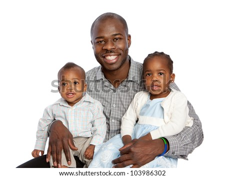 Happy African American Father Holding Son and Daughter High Key Portrait Isolated on White Background