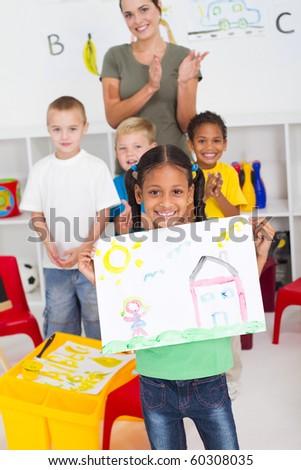 happy african american girl in classroom