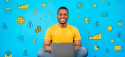 Happy African American guy using laptop computer on blue background with financial pictograms, creative collage. Banner design. Online economy and finance planning school concept