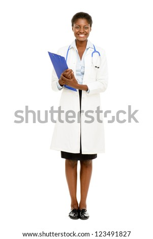 Happy African American trusted Nurse Doctor Woman isolated on white background