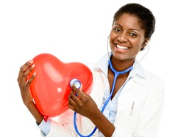Happy African American trusted Nurse holding Red heart isolated on white background