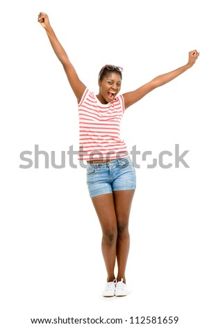 Happy African American woman is successful isolated on white backgound