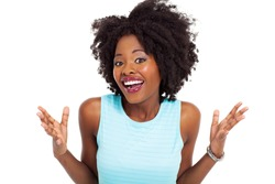 happy african american woman looking surprised on white