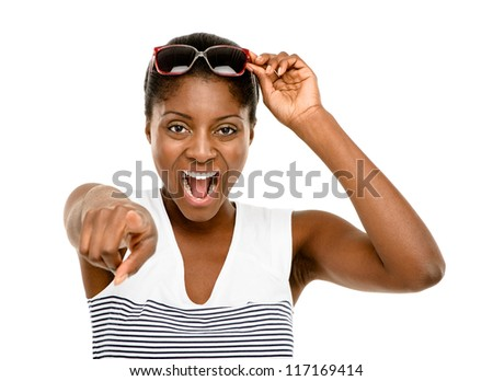 Happy African American Woman pointing isolated white background