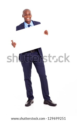happy african businessman holding banner isolated on white
