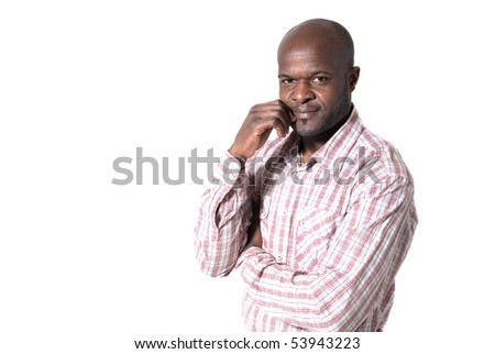 Happy african businessman smiling and looking  portrait isolated on white background.