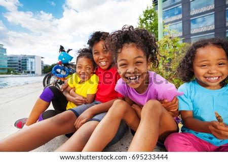 Happy African children having fun together outdoor