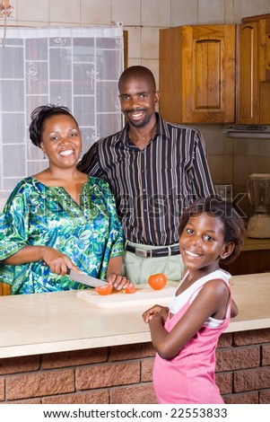 happy african family at home - stock photo