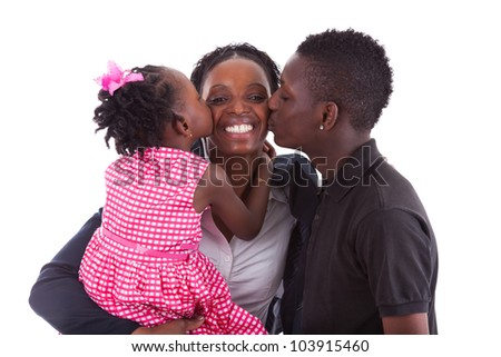 Happy african mother with her children's, isolated on white background