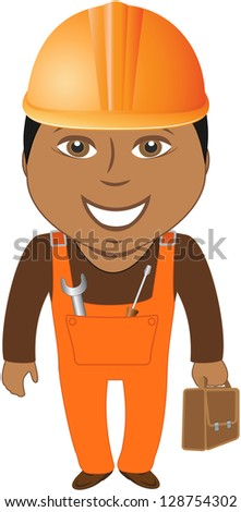 happy afro american worker - home master with tools