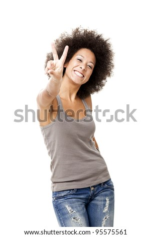 Happy Afro-American young woman isolated on white background