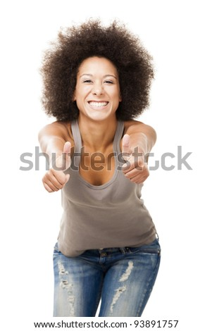 Happy Afro-American young woman isolated on white doing a thumbs-up signal with her hand