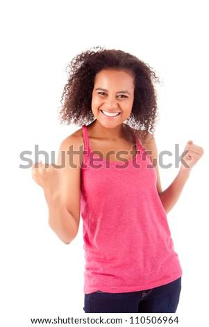 Happy afro woman celebrating - stock photo