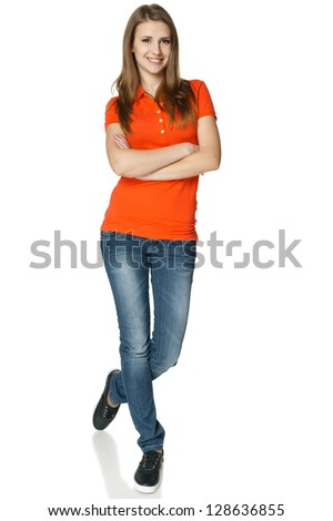 Happy and carefree teenage girl in full length isolated on white background