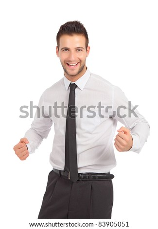 Happy and cheerful businessman in studio - stock photo