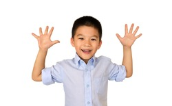Happy and Cute asian boy put his hand up isolated on white background.