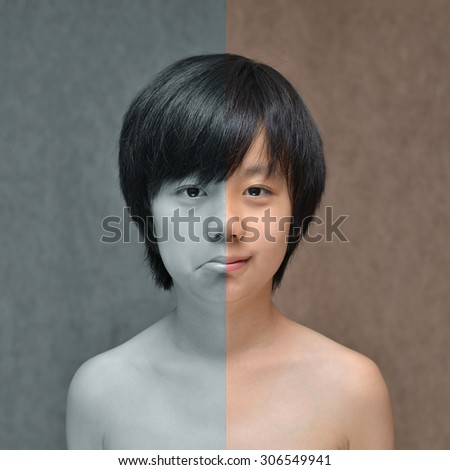 Happy and sad face of young Asian boy