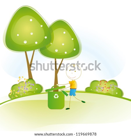 Happy and small boy earth protection and think green