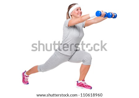 happy and smiley sportswoman over white background