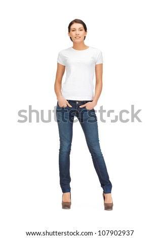 happy and smiling woman in blank white t-shirt