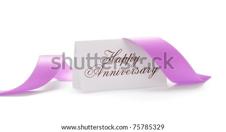 Happy anniversary card with a pink ribbon over a white background