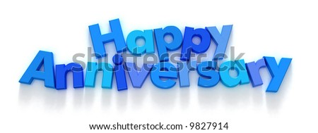 Happy Anniversary in blue letter magnets on a neutral background ...