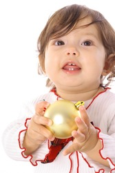 happy asian baby holding an ornament upclose