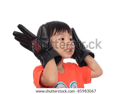 Happy asian boy with Gloves isolated on white background