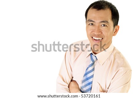 Happy Asian businessman smile portrait on white background.