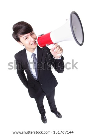 happy asian businessman using megaphone isolated on white background, high angle view