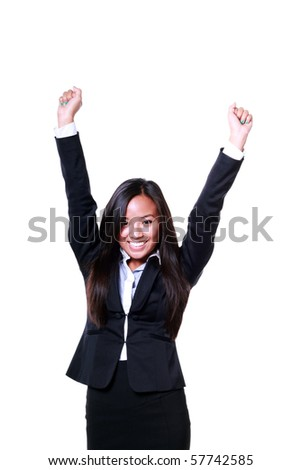 Happy Asian businesswoman celebrating her victory isolated