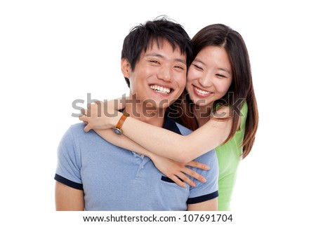 Happy asian couple isolated on white background.