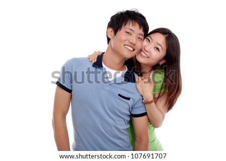 Happy asian couple isolated on white background.