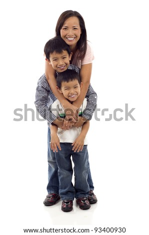 Happy Asian Family, Full length of a happy Asian mother hugging her two playful kids isolated over white background
