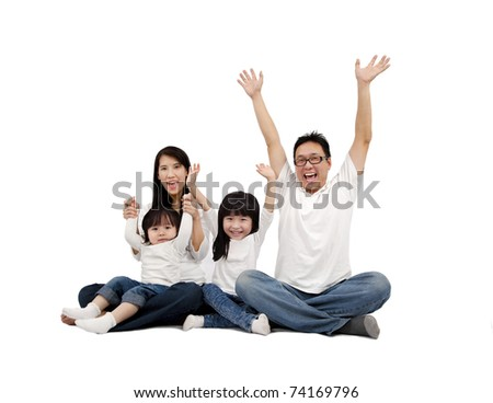 Happy Asian Family isolated on white