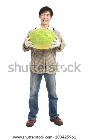 happy asian farmer holding watermelon full length isolated on white