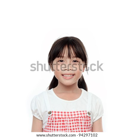 Happy asian girl portrait on white background