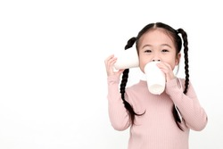 Happy asian little child girl having fun to play with Paper Phone on white background. Kid family connection education  concept.