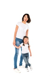 happy asian mother and her daughter having fun together, isolated on white