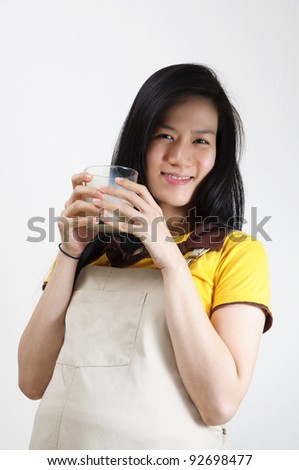 stock photo : Happy asian pregnant woman drink the milk