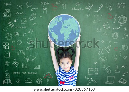 Happy Asian school child girl with hands raising globe chalk drawing on green color chalkboard with freehand sketch doodle background: Smiling female little kid on writable blackboard backdrop
