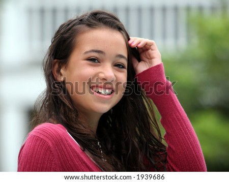 stock photo : Happy asian teen girl smiling