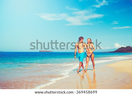 Happy Attractive Young Couple on Tropical Beach #369458699